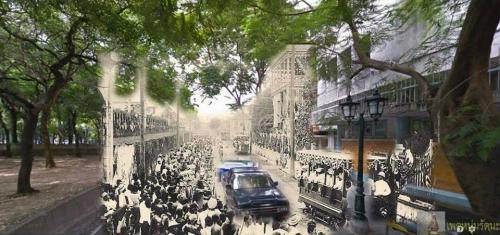 ไทยในอดีต_บรรยากาศวันเปิดรถรางด้วยระบบไฟฟ้า บริเวณวัดเลียบ