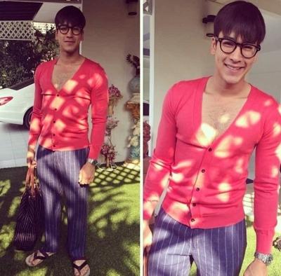 เสื้อผ้า ชุด แฟชั่น ณเดชน์_9-ณเดชน์-เสื้อแดงแหวกอกลึก